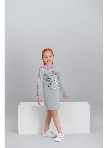 Bugs Bunny Bugs Bunny Lisanslı Grimelanj Kız Çocuk Kapüşonlu Elbise Gri